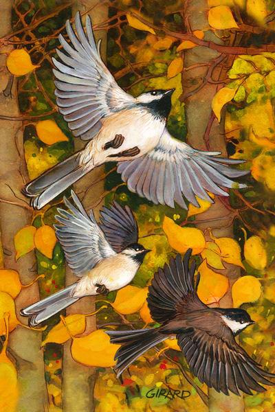 Falling Leaves Bird Block | Studio Girard