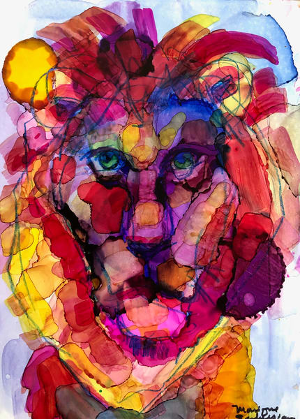 "High quality print of ""Miracles of the Majestic Ready to Roar 6 by Monique Sarkessian, alcohol ink painting."