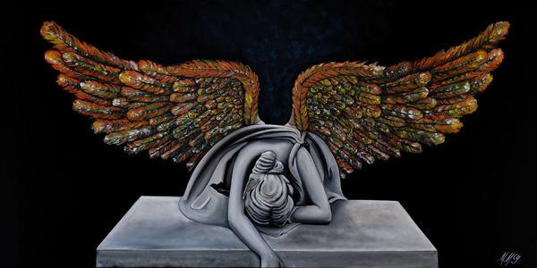 Rising Angel | Original Mixed Media Painting Art | MMG Art Studio | Fine Art Colorado Gallery