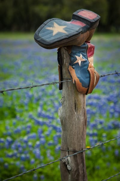 Texas Boot On Fencepost Photography Art | Michael Penn Smith - Vision Worker