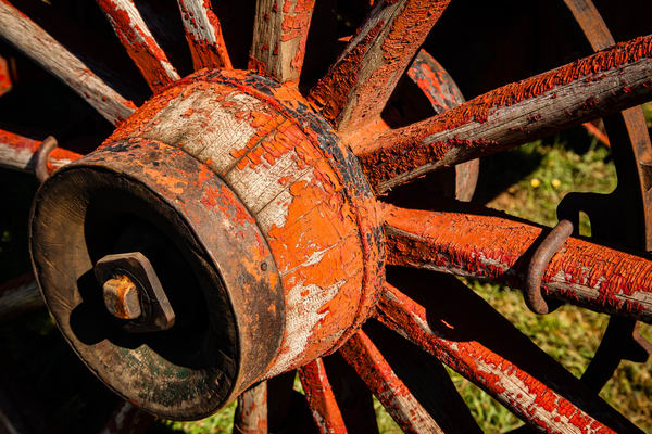 Red Wagon Wheel Photography Art | Michael Penn Smith - Vision Worker