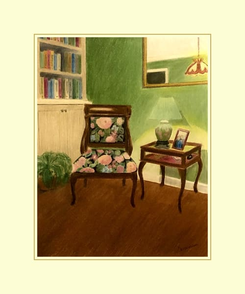 Home Lights - Antique Chair, Original Colored Pencil Painting