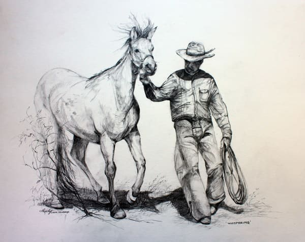Lindy Cook Severns Art | Whispering, original graphite drawing