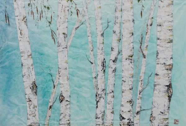 Birch On Blue ||  Art | donnadacuti
