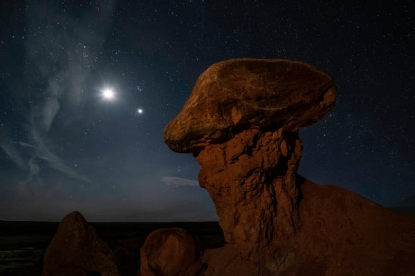 Mushroom Hoo Doo With Setting Moon And Venus Photography Art | John Gregor Photography