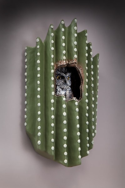"""Desert Denizen""   Western Screech Owl In Saguaro Art 
