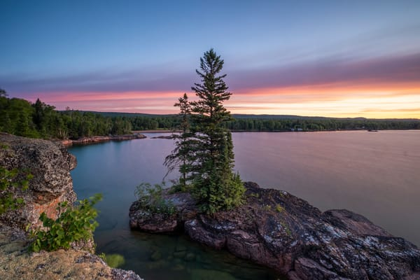 Red Rock Sunrise Horizantal, Lake Superior Photography Art | John Gregor Photography