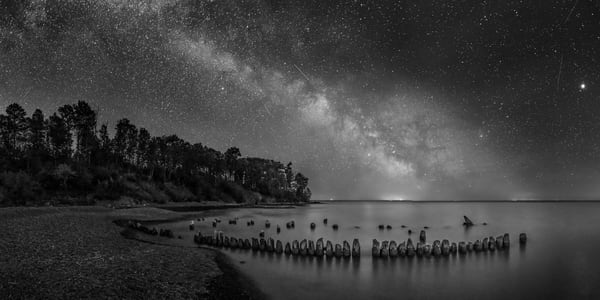 Split Rock River Dock Pilings With Milky Way, Lake Superior Photography Art | John Gregor Photography