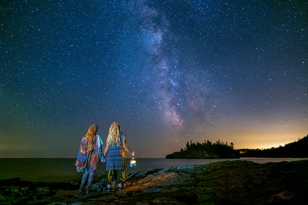 Erin & Morgan Looking Over The Milky Way Photography Art | John Gregor Photography