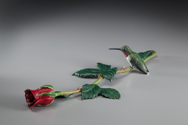 """Long Stemmed Jewel""   Hummingbird On Long Stemmed Rose Art 