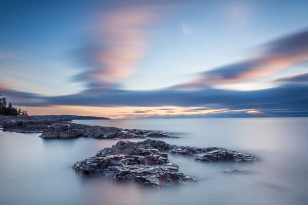 Rocks And Clouds, Lighthouse Point Two Harbors Photography Art | John Gregor Photography