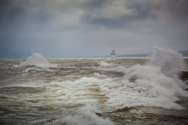 Lighthouse Point Breakwall During A Nor'easter, Two Harbors Photography Art | John Gregor Photography