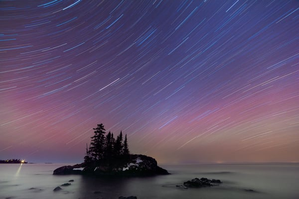 Star Trails Over Island At Hovland, Lake Superior Photography Art | John Gregor Photography
