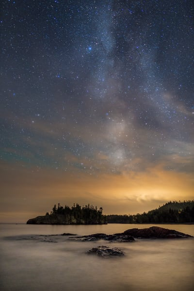 Milky Way Over Ellingson Island, Lake Superior Photography Art | John Gregor Photography