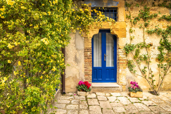Blue Door and Red Flowers | Jim Parkin Fine Art Photography