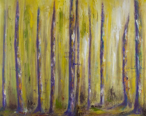 Purple Trees Fortress Oil Painting