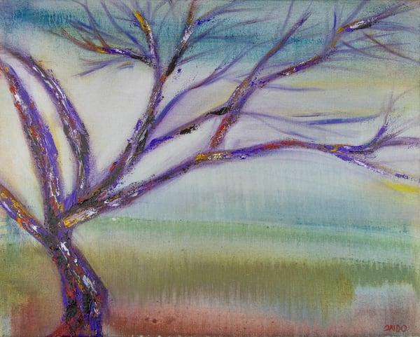 magical purple tree oil painting