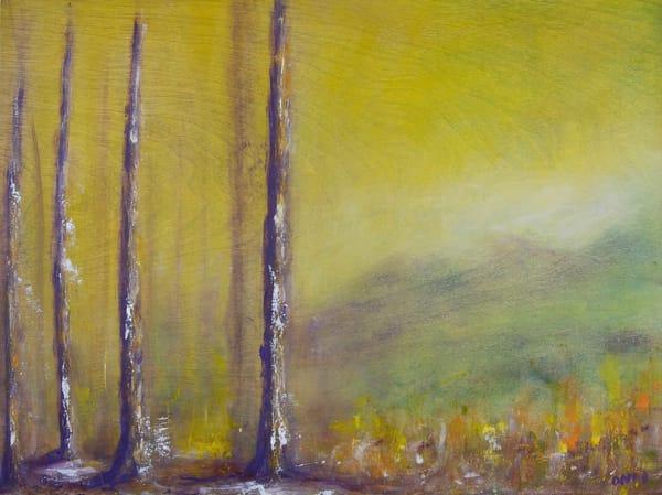 grandmother purple trees oil painting