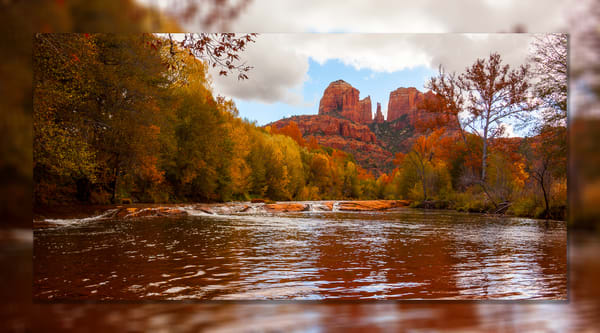 Sedona   Cathedral Rock Reflection Pano 3 D Photography Art | Whispering Impressions