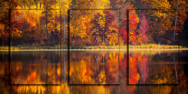 Fall Reflections 3 Pc 3 D Photography Art | Whispering Impressions