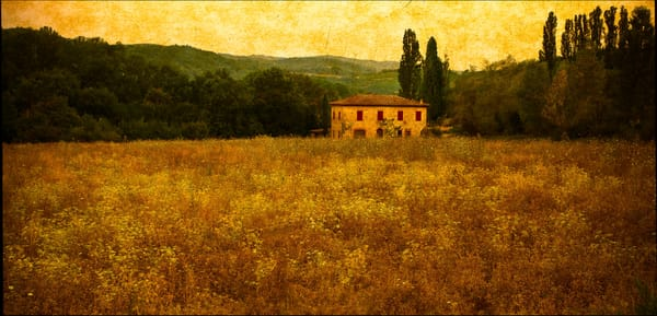 A richly textured photo composite of a peaceful Tuscan farm.
