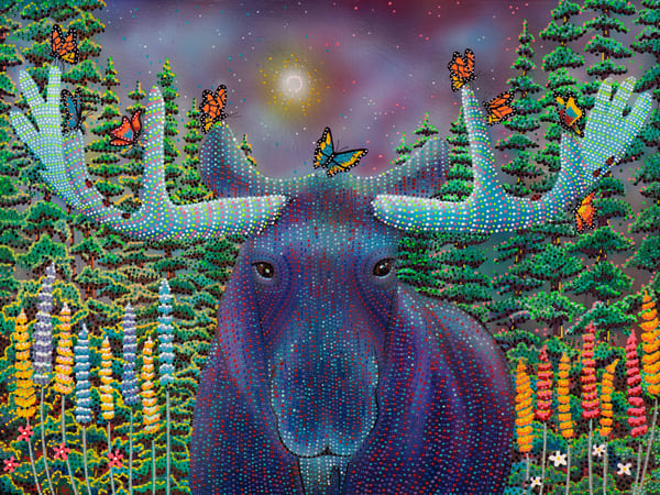 moose, monarch-butterfly, ladybug, forest, trees, happy-art, whimsical
