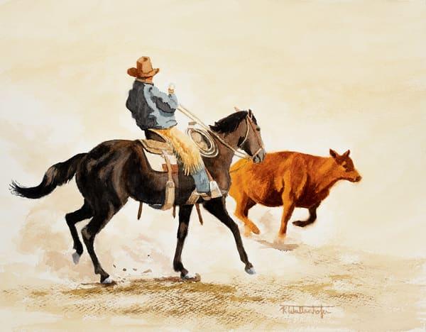 "Raymond Wattenhofer Original Art Watercolor ""Out Maneuvered""."