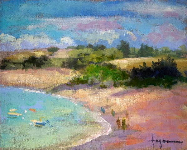 French Beach Landscape Painting Fine Art Print by Dorothy Fagan