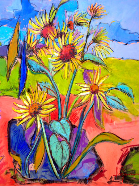 Monet Sunflowers Fine Art Print Painting by Dorothy Fagan