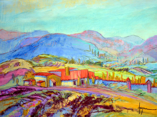 Colorful Contemporary French Landscape Art Print by Dorothy Fagan
