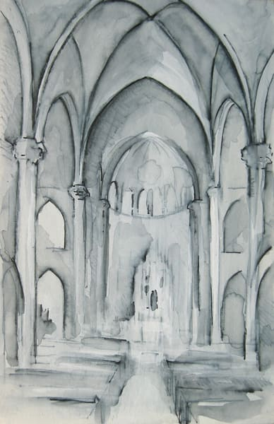 Boston Church Of The Advent Mixed Media Drawing 3.75x5.75 Art | Michelle Arnold Paine Fine Art