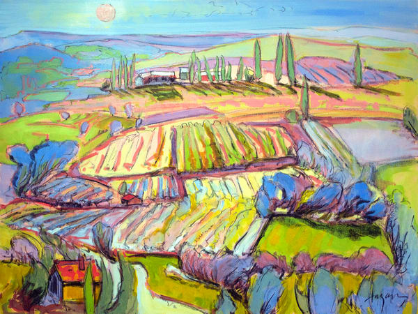 Lavender Farm Landscape Painting Print by Dorothy Fagan