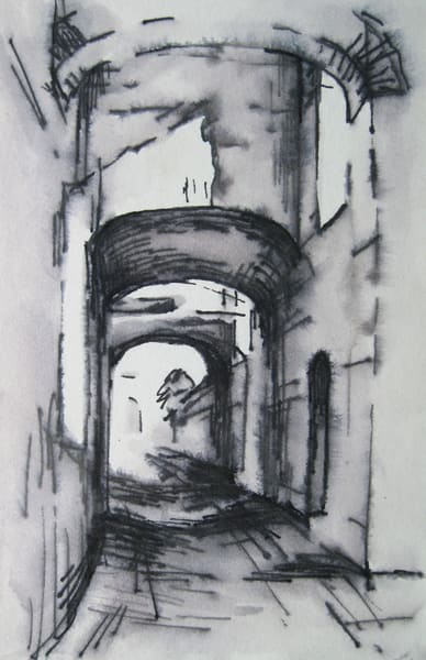 Passage: Assisi Ink Drawing Original Art | Michelle Arnold Paine Fine Art
