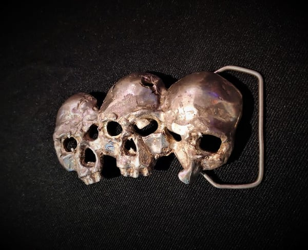 3 Skulls Sterling Silver Belt Buckle