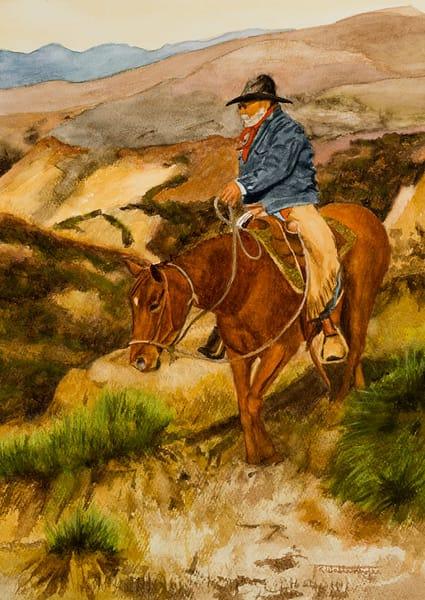 "Raymond Wattenhofer Original Art Watercolor ""Hunt For Strays""."