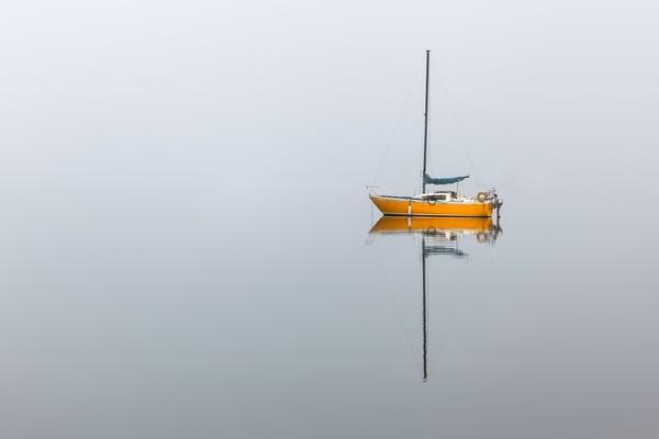 Yellow Boat in Fog