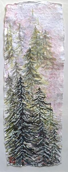 Snowy Pines At Sunset  Art | donnadacuti
