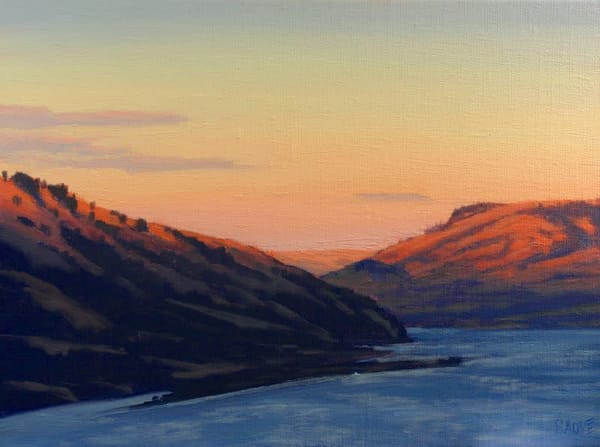 Sunset over the Columbia River oil painting