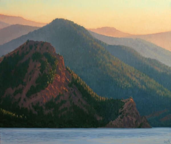 Columbia River at Sunset original oil painting