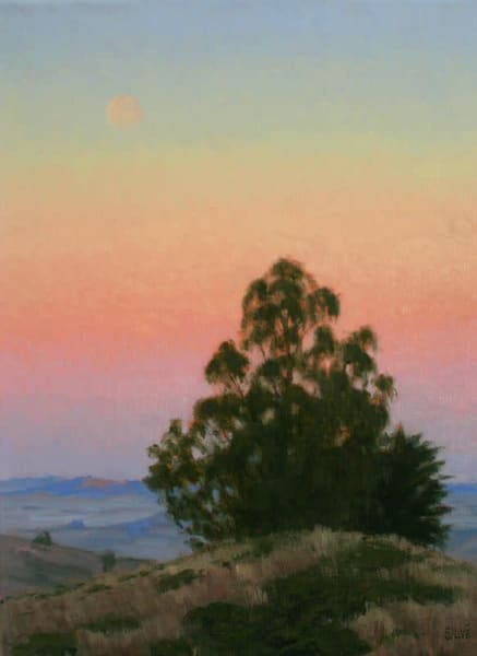 Moonrise, Eucalyptus at Sunset original oil painting
