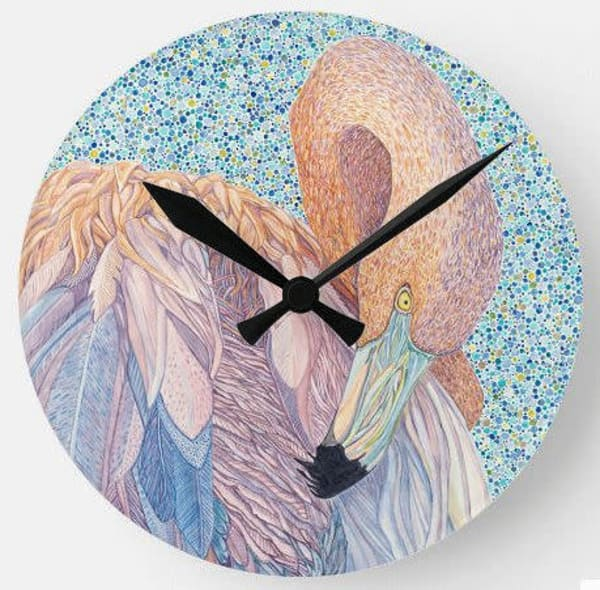 American Flamingo wall clock featuring art by Judy Boyd