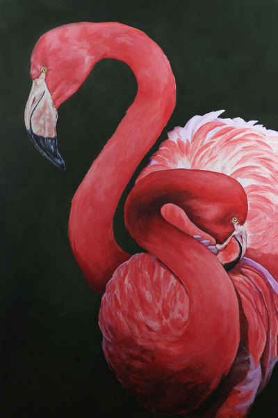 Painting of flamingos at the OKC zoo