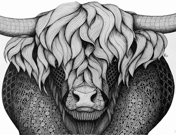"Highland Cow Art | Kristin Moger ""Seriously Fun Art"""