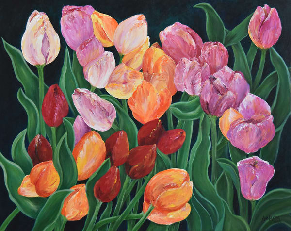 Tulips in Switzerland original painting - Fine Art Prints on Canvas, Paper, Metal & More