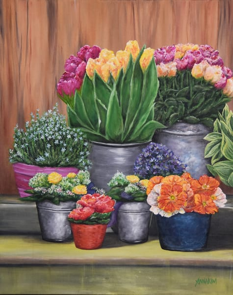 Flower Stand in Switzerland original painting - Fine Art Prints on Canvas, Paper, Metal & More