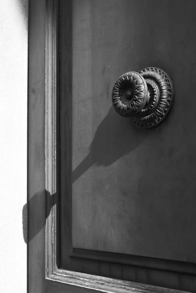 Old Rustic Door Knob Cast Shadow in Italy Photograph – B&W Art Photography - Fine Art Prints on Canvas, Paper, Metal & More