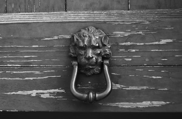 Old Rustic Door Knocker in Italy Photograph – B&W Art Photography - Fine Art Prints on Canvas, Paper, Metal & More