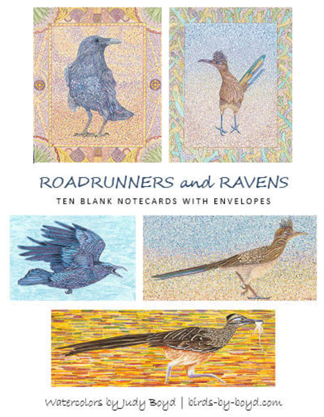 Birders love sending or receiving these beautiful roadrunner and raven note cards