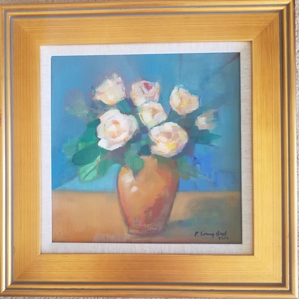 original oil painting, roses, catching the light