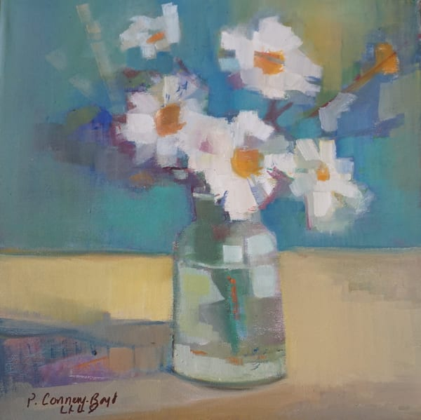 daisy painting, daisies, original artwork, A Bunch of Smiling Faces, bouquet of daisies, vase of daisies, cheerful painting